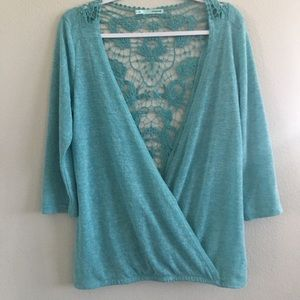 Maurices teal wrap sweater crocheted back. Medium